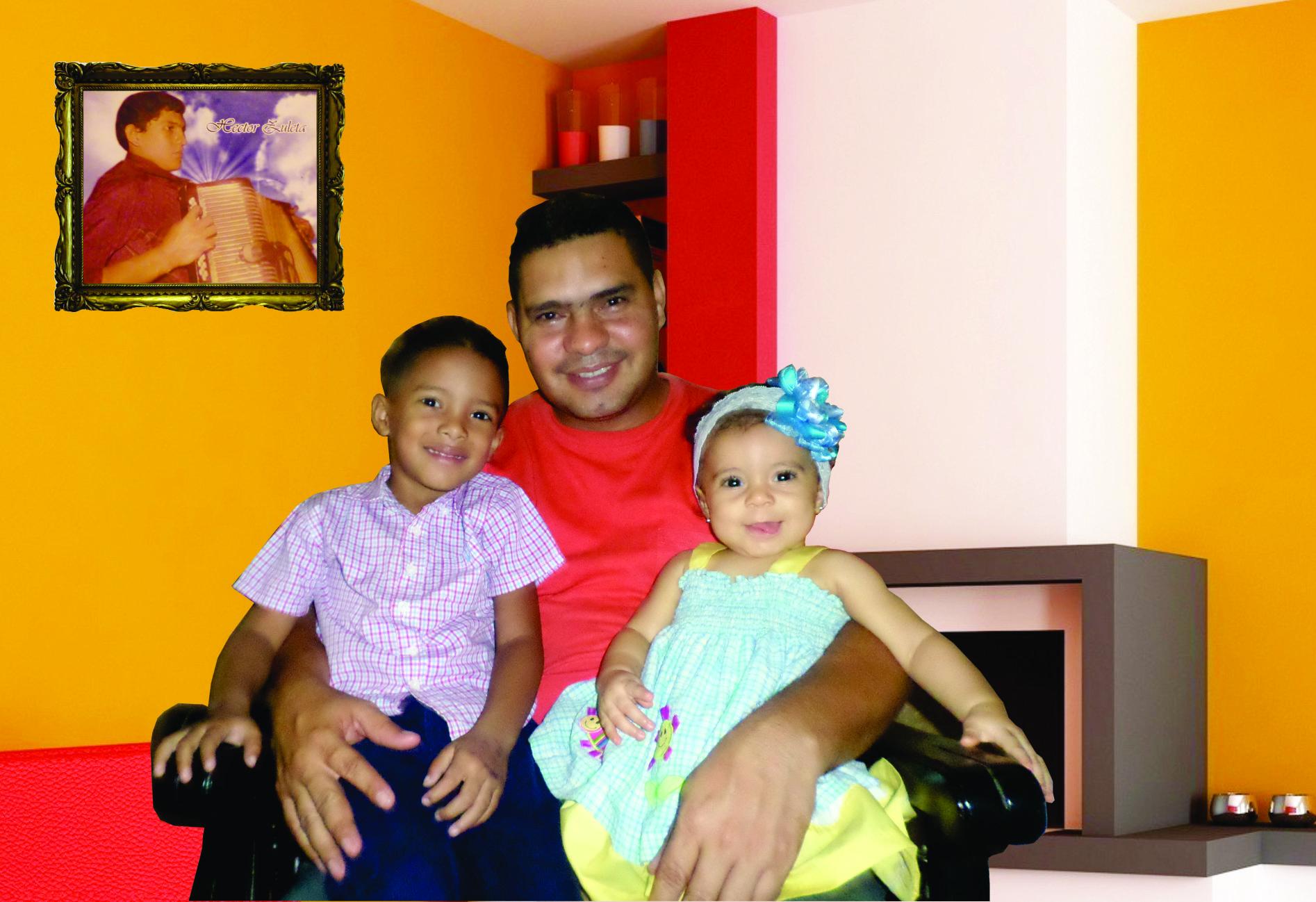 Héctor Arturo Zuleta Amaya y sus dos hijos. Foto  Juan Rincón Vanegas