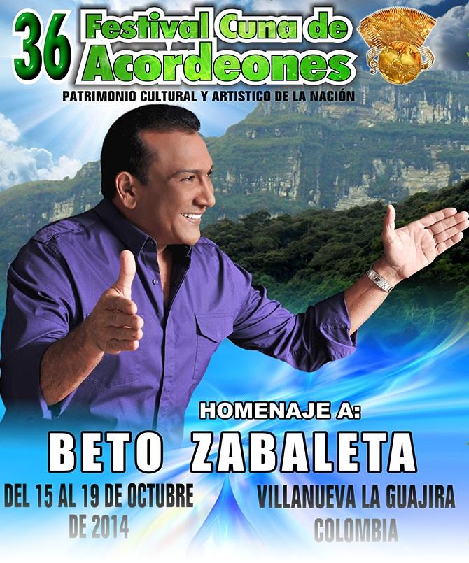 afiche festival cuna de acordeones 2014 en homenaje beto zabaleta
