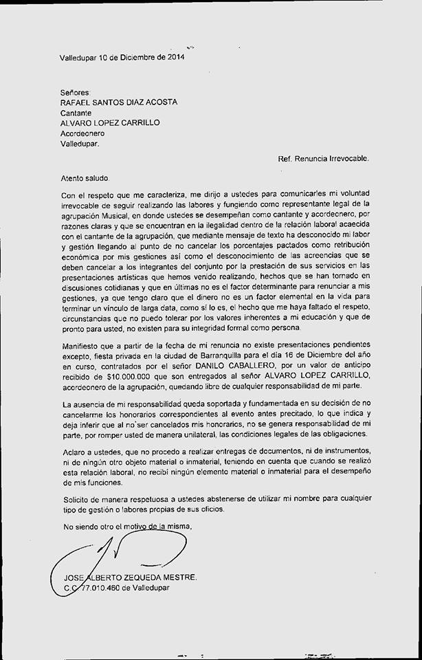 carta jose zequeda