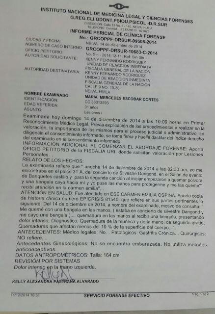 medicina legal valoracion maria mercedes escobar 1 Pólvora del show de Silvestre dejó una persona herida en Neiva