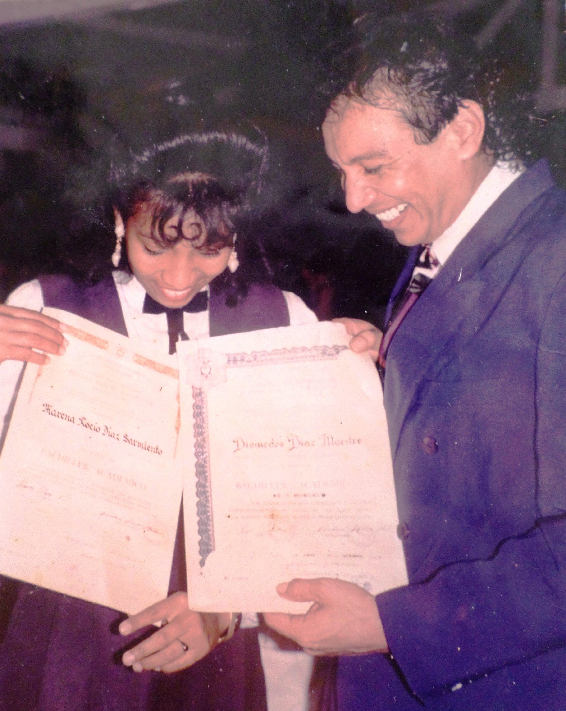 Diomedes Díaz y su hija Marena