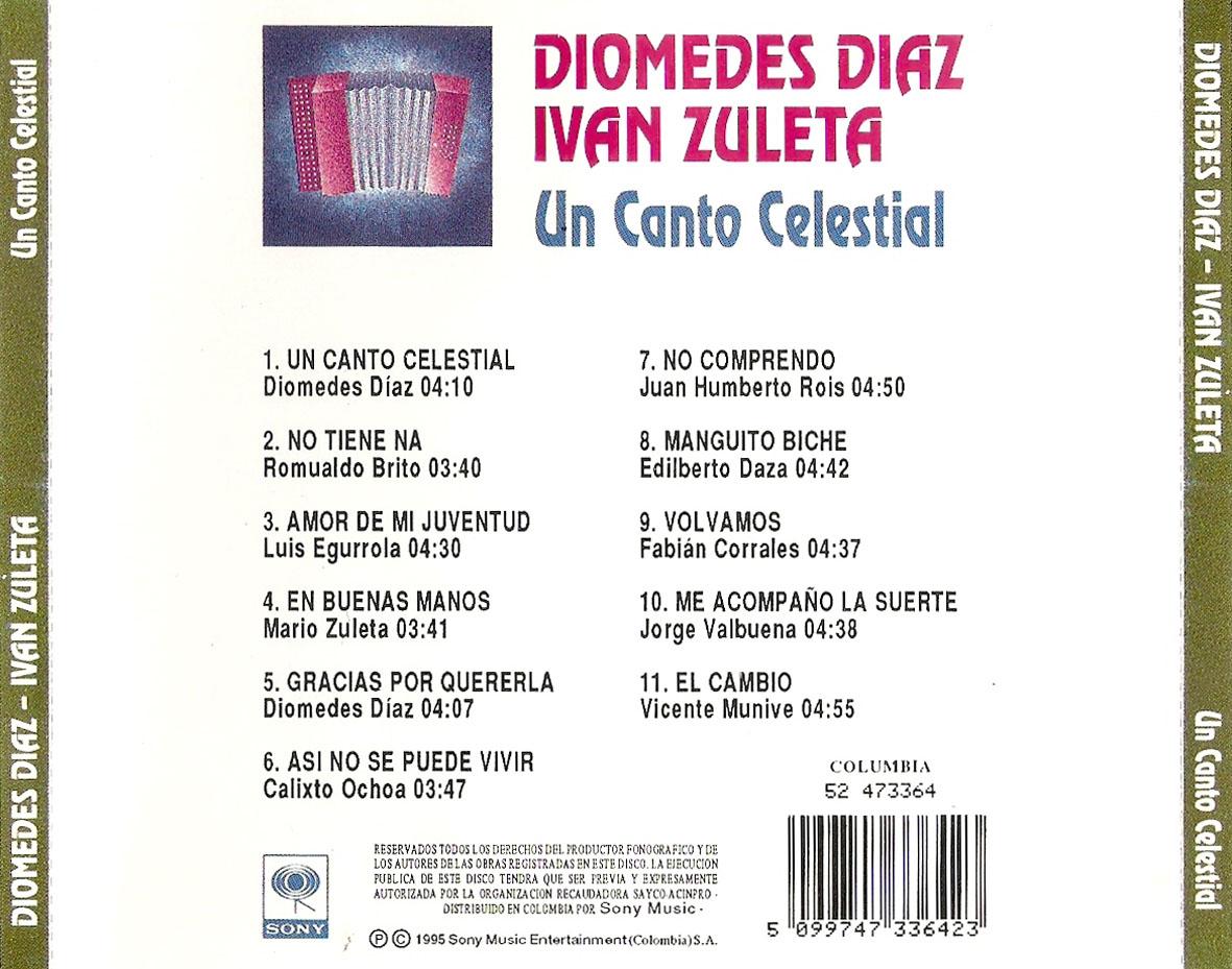 Diomedes Díaz e Iván Zuleta - 1995 - Un Canto Celestial - Trasera