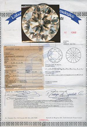 certificado diamante de diomedes