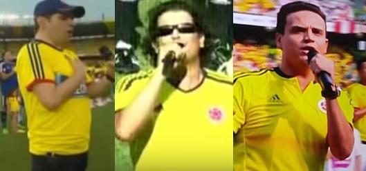 artistas cantando el himno nacional de colombia