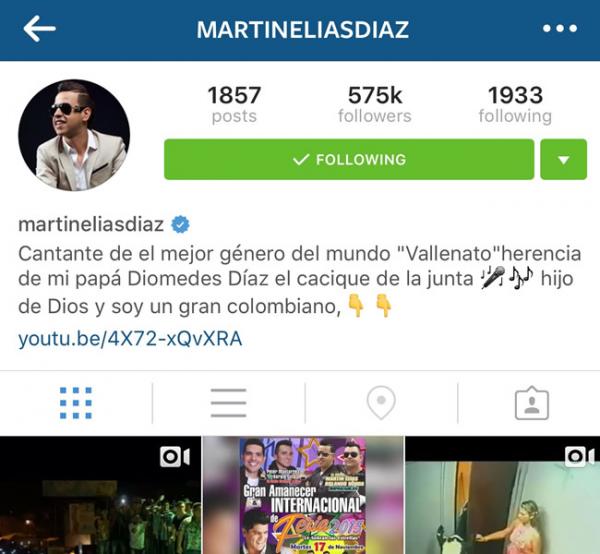 martin elías cuenta verificada en Instagram