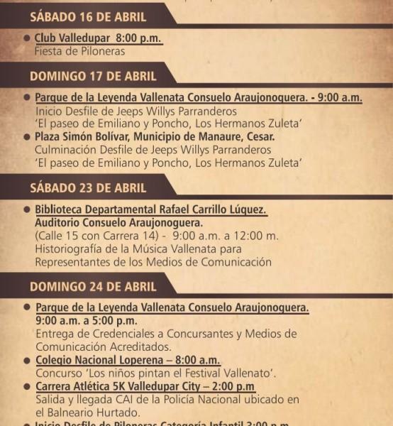 programación festival vallenato 2016 - 1