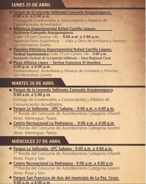 programación festival vallenato 2016 - 2