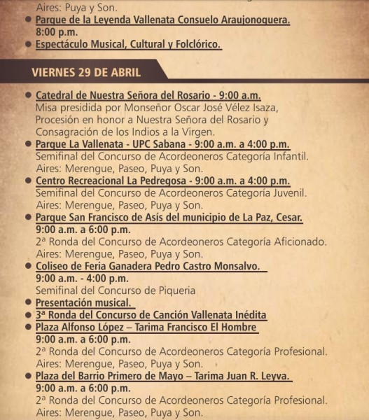 programación festival vallenato 2016 - 5