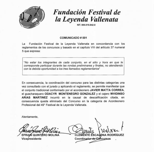 COMUNICADO DE PRENSA FESTIVAL ELIMINACIÓN JAVIER MATTA